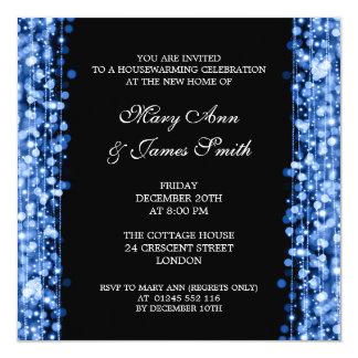 Housewarming Party Blue Lights & Sparkles 13 Cm X 13 Cm Square Invitation Card