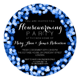 Housewarming Party Blue Sparkly Lights 13 Cm X 13 Cm Square Invitation Card