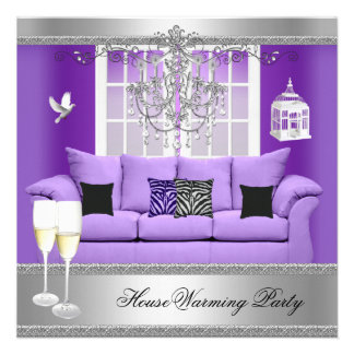 HouseWarming Party Champagne Chandelier Sofa Personalized Announcements