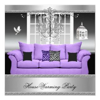 HouseWarming Party Chandelier Purple Silver White 13 Cm X 13 Cm Square Invitation Card
