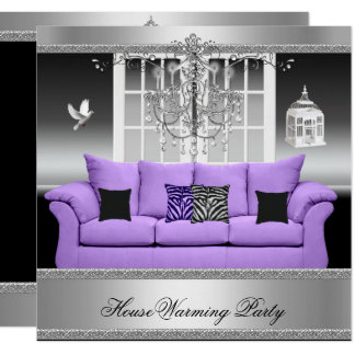 HouseWarming Party Chandelier Purple Silver White Card