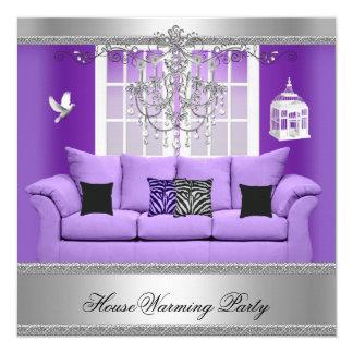 HouseWarming Party Chandelier Purple Sofa Silver 13 Cm X 13 Cm Square Invitation Card