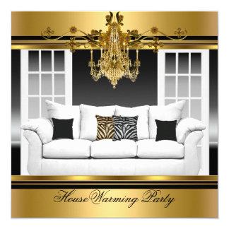 HouseWarming Party Chandelier Rich Gold Black 13 Cm X 13 Cm Square Invitation Card