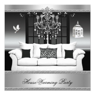 HouseWarming Party Chandelier Rich Silver Black 13 Cm X 13 Cm Square Invitation Card