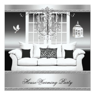 """HouseWarming Party Chandelier Rich Silver White 5.25"""" Square Invitation Card"""