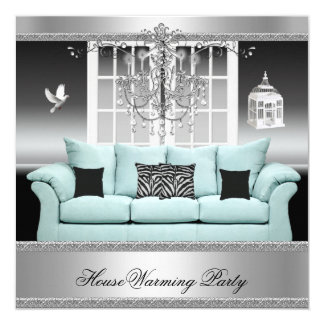 HouseWarming Party Chandelier Teal Silver White 5.25x5.25 Square Paper Invitation Card