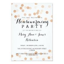 Housewarming Party Faux Copper Foil Glitter Lights 13 Cm X 18 Cm Invitation Card