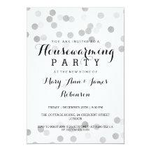 Housewarming Party Faux Silver Foil Glitter Lights 13 Cm X 18 Cm Invitation Card