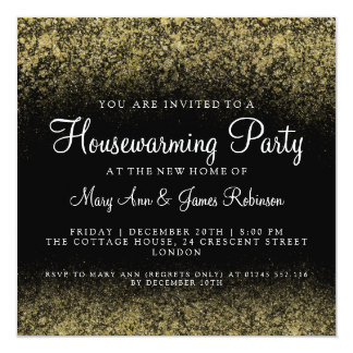 Housewarming Party Gold Glitter Dust Card