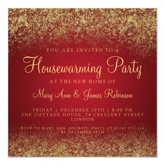 Housewarming Party Gold Glitter Dust Red Card