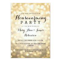 Housewarming Party Gold Glitter Lights Card
