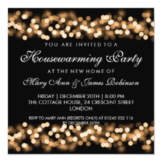 Housewarming Party Gold Hollywood Glam 13 Cm X 13 Cm Square Invitation Card