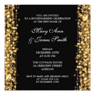 Housewarming Party Gold Lights & Sparkles 13 Cm X 13 Cm Square Invitation Card