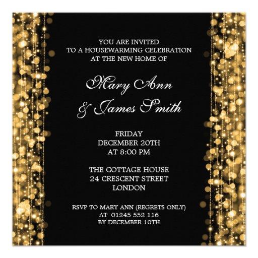Housewarming Party Gold Lights & Sparkles Announcements
