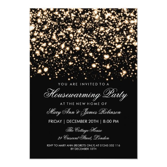 Housewarming Party Gold Midnight Glam Card