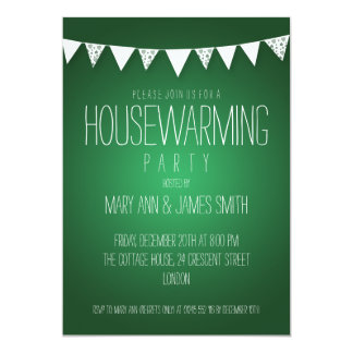 Housewarming Party Hearts Bunting Green Custom Invite