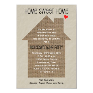 Housewarming Party Invitation Burlap House