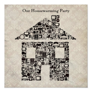 Housewarming Party Invitation - Damask Wallpaper