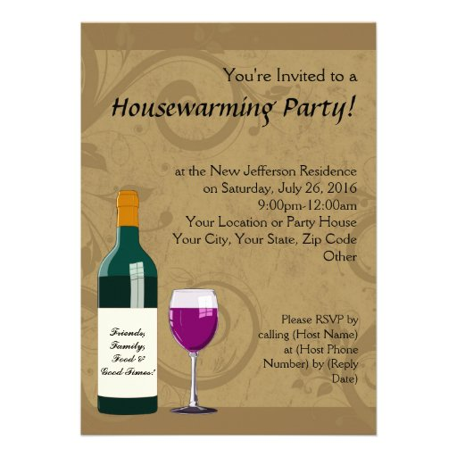 Housewarming Party Invitations, Wine Theme