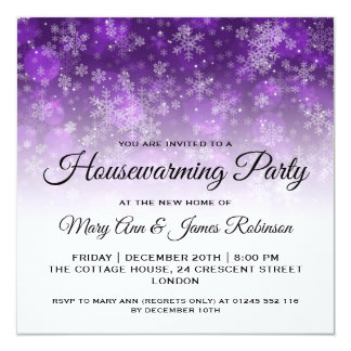 Housewarming Party Purple Holiday Sparkle Card
