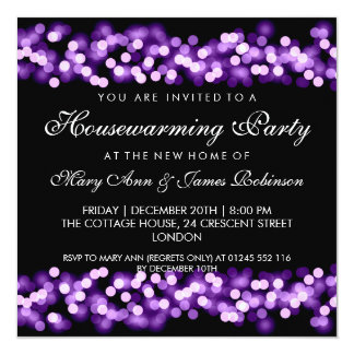 Housewarming Party Purple Hollywood Glam 13 Cm X 13 Cm Square Invitation Card