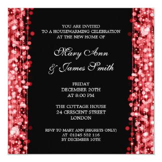 Housewarming Party Red Lights & Sparkles 13 Cm X 13 Cm Square Invitation Card