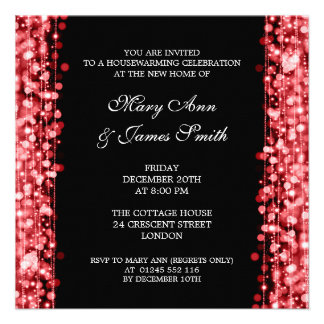 Housewarming Party Red Lights & Sparkles Announcement