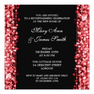 Housewarming Party Red Lights & Sparkles 5.25x5.25 Square Paper Invitation Card