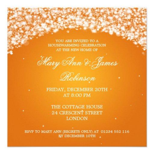 Housewarming Party Sparkling Arch Orange Personalized Announcement