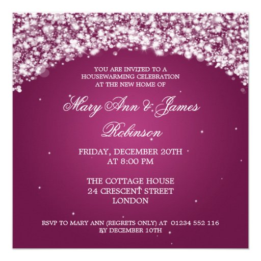 Housewarming Party Sparkling Arch Pink Personalized Announcements