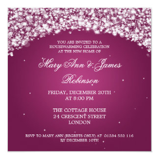 Housewarming Party Sparkling Arch Pink 13 Cm X 13 Cm Square Invitation Card