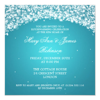 Housewarming Party Sparkling Arch Turquoise 13 Cm X 13 Cm Square Invitation Card