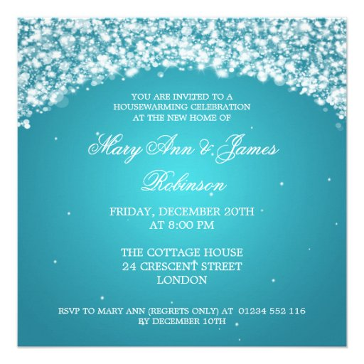 Housewarming Party Sparkling Arch Turquoise Invite