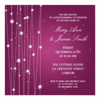 Housewarming Party Sparkling Lines Pink 13 Cm X 13 Cm Square Invitation Card
