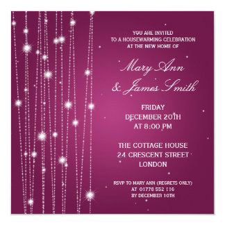 Housewarming Party Sparkling Lines Pink Card