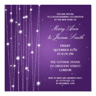 Housewarming Party Sparkling Lines Purple 13 Cm X 13 Cm Square Invitation Card