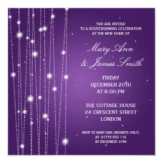 Housewarming Party Sparkling Lines Purple Card