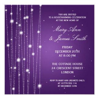 Housewarming Party Sparkling Lines Purple Invitation