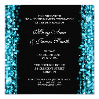 Housewarming Party Turquoise Lights & Sparkles Personalized Invitation