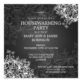 Housewarming Party Vintage Scroll Black 13 Cm X 13 Cm Square Invitation Card