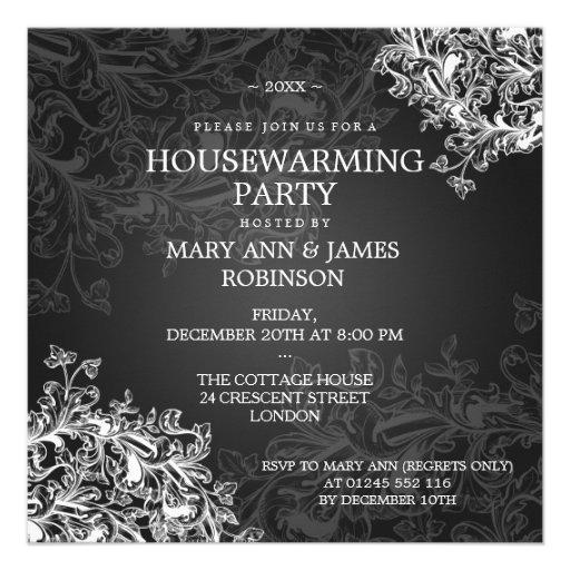 Housewarming Party Vintage Scroll Black Custom Invitations