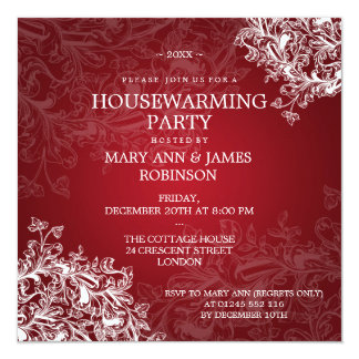 Housewarming Party Vintage Scroll Red 13 Cm X 13 Cm Square Invitation Card