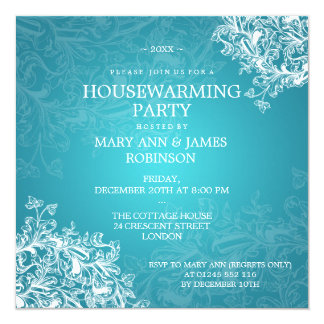 Housewarming Party Vintage Scroll Turquoise 13 Cm X 13 Cm Square Invitation Card