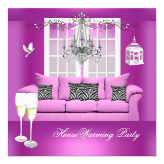 HouseWarming Pink Champagne Chandelier Sofa 13 Cm X 13 Cm Square Invitation Card