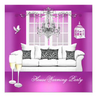 HouseWarming Pink Purple Champagne Chandelier 13 Cm X 13 Cm Square Invitation Card