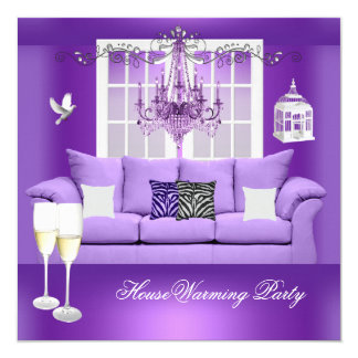 HouseWarming Purple Champagne Chandelier Sofa Card