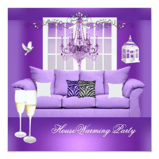 HouseWarming Purple Champagne Chandelier Sofa 5.25x5.25 Square Paper Invitation Card