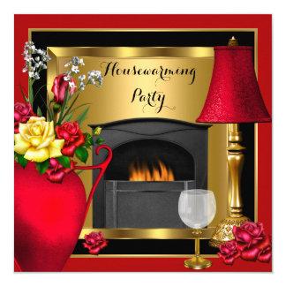Housewarming Red Gold Roses Decor Wine Glass 13 Cm X 13 Cm Square Invitation Card