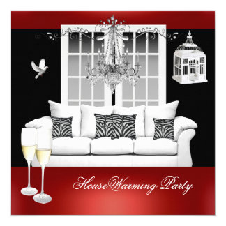 HouseWarming Red White Black Chandelier 13 Cm X 13 Cm Square Invitation Card