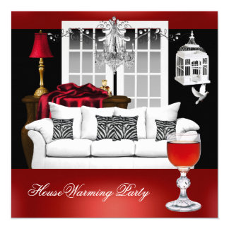 HouseWarming Red White Black Chandelier 13 Cm X 13 Cm Square Invitation Card
